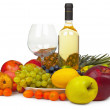 Still-life from wine and fruits on white background — Stock Photo