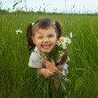 Stock Photo: Cheerful child embraces wild flowers