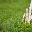 Toy man embraces young tree — Stock Photo