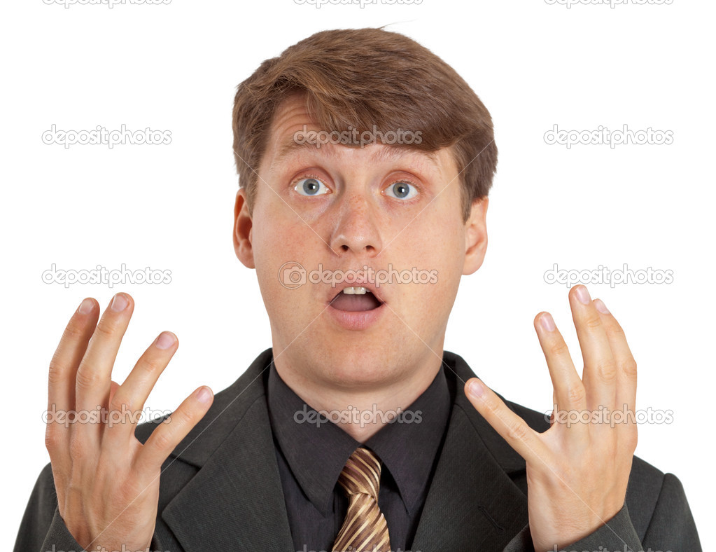 Confused person isolated on white background stock image