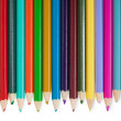 Fourteen color pencils on white background — Stok fotoğraf