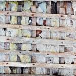 Old lattice - skeleton of concrete wall — Stock Photo