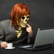 Terrible monster has got access to network Internet — Stock Photo