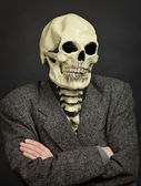 Portrait of person in skeleton mask — Stock Photo