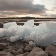 Ice thaws on bank of lake — Stockfoto