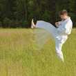 Man in kimono fulfills blows by feet in field - Stock Photo