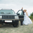 Happy newly-married couple says goodbye near car — Stock Photo