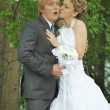 Amusing groom and bride kiss secretly - Stock Photo