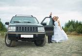 Happy newly-married couple says goodbye near car — Stock Photo