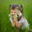 Little girl embraces flowers - chamomiles — Stock Photo