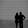 Silhouette of couple - man and woman — Stock Photo
