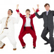 Triumph of happy command of businessmen — Stock Photo