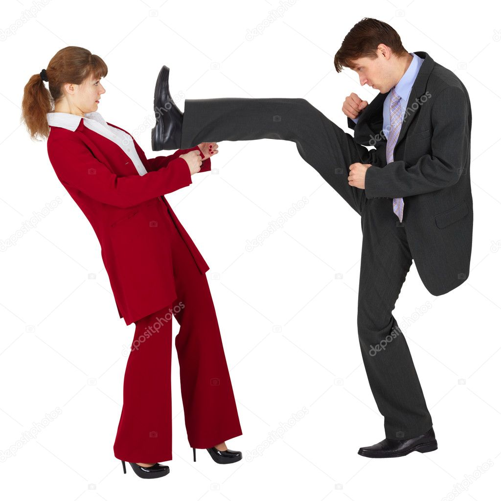The man puts a kick to the woman  Stock Photo #3712723