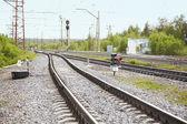 Railroad tracks near railway station — Stock Photo