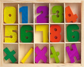 Wooden set for training to arithmetics — Stock Photo