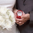 Wedding rings in hands of newlyweds — Stock Photo