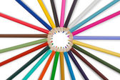 Great set of color pencils on white background — Stock Photo