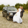 Stock Photo: Newly married go to a honeymoon trip by car