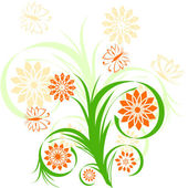 Floral ornament on white background — Stock Vector