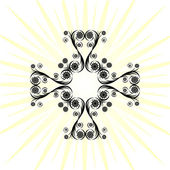 Cross made with floral ornament — Vector de stock