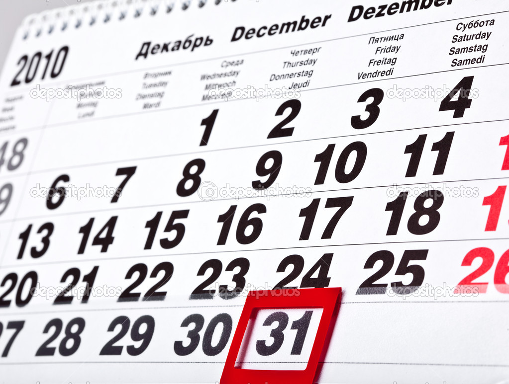Last Day Of The 2010 Year 31 December Stock Photo