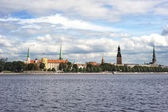 Skyline of Riga (Latvia) in the sunshine day — Stock Photo