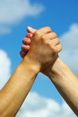 Hand in a hand — Stock Photo