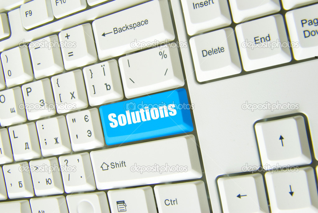Computer keyboard  blue key Solutions — Stock Photo #3180612