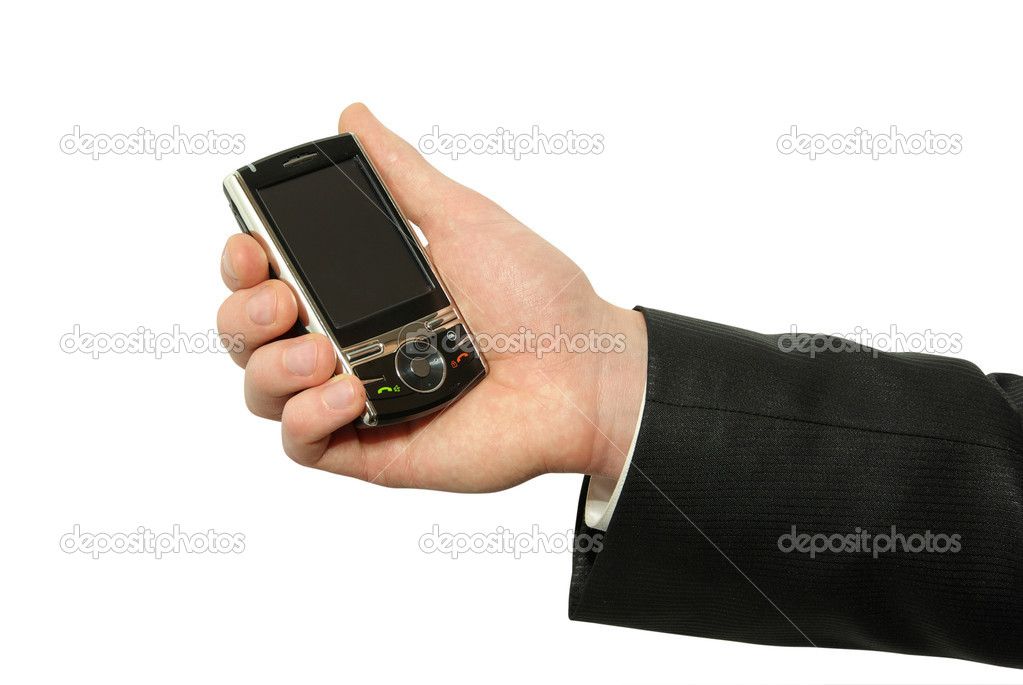 Hands with smartphone isolated over white background  Stock Photo #3382198