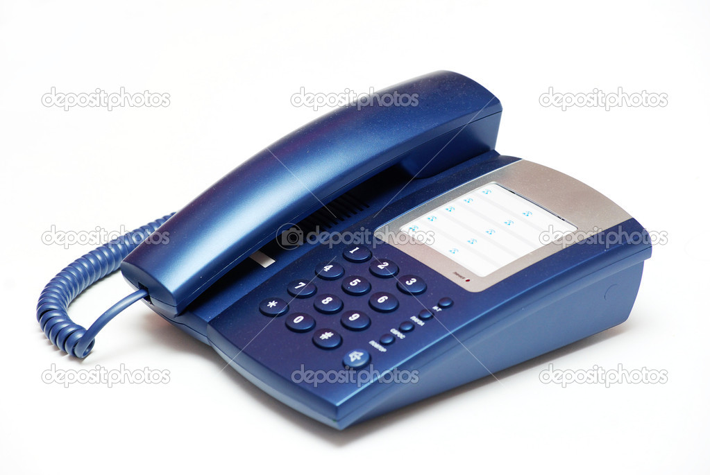 blue office telephone on a white  background — Stock Photo #3382216