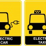 Electric car / Electric taxi - sign — Stock Vector