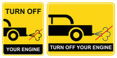 Turn OFF your engine - sign — Stock Vector