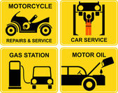 Autoservice, motorcycle repairs, change motor oil, gas station - — Stock Vector