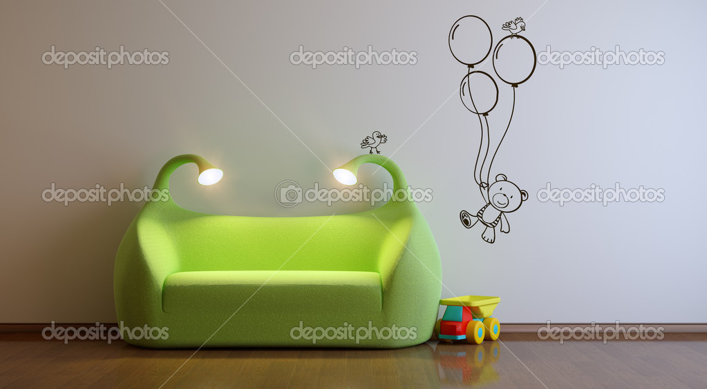 A modern 3d interior playroom — Stock Photo #3095879