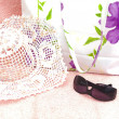 The  women bag with sun hat — Stock Photo