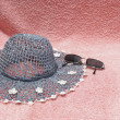 Stock Photo: Beach hat and sunglases