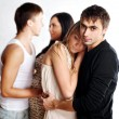 Two trendy heterosexual young couples — Foto Stock