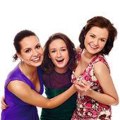 Groep gelukkig vrij lachende meisjes — Stockfoto