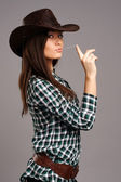 Portrait of beautiful cowgirll in hat — Stockfoto
