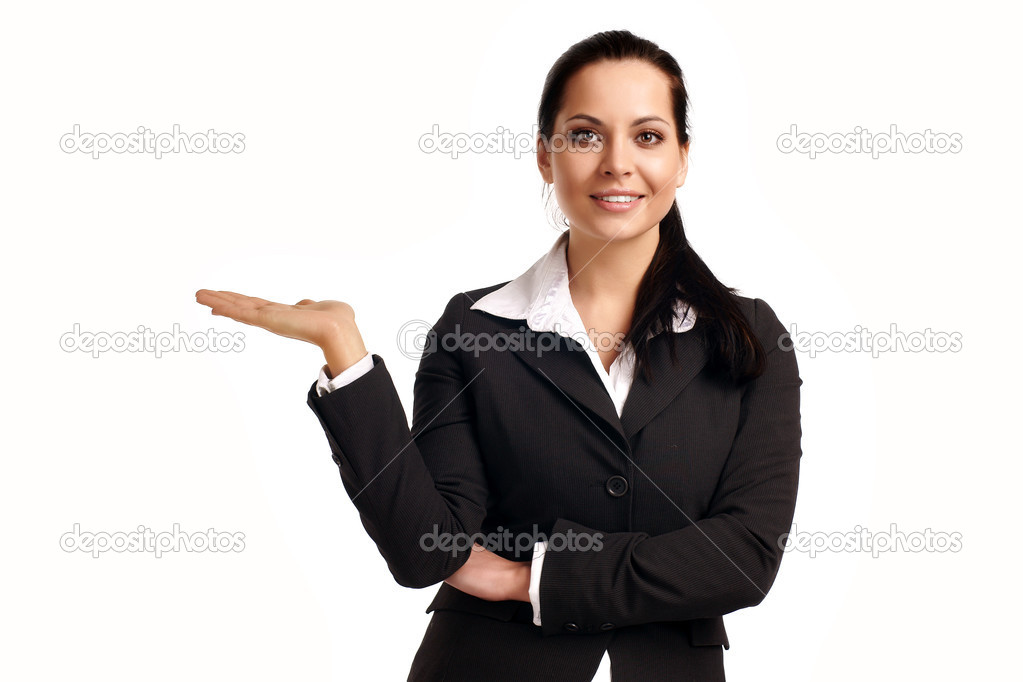 A young beautiful business woman pointing at copyspace  — Stock Photo #3658202
