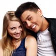 Portrait of a beautiful young happy smiling couple — Stock Photo #3862773