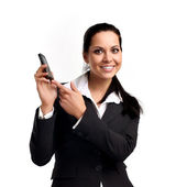 Attractive young woman calling by cellular phone. — Stock Photo