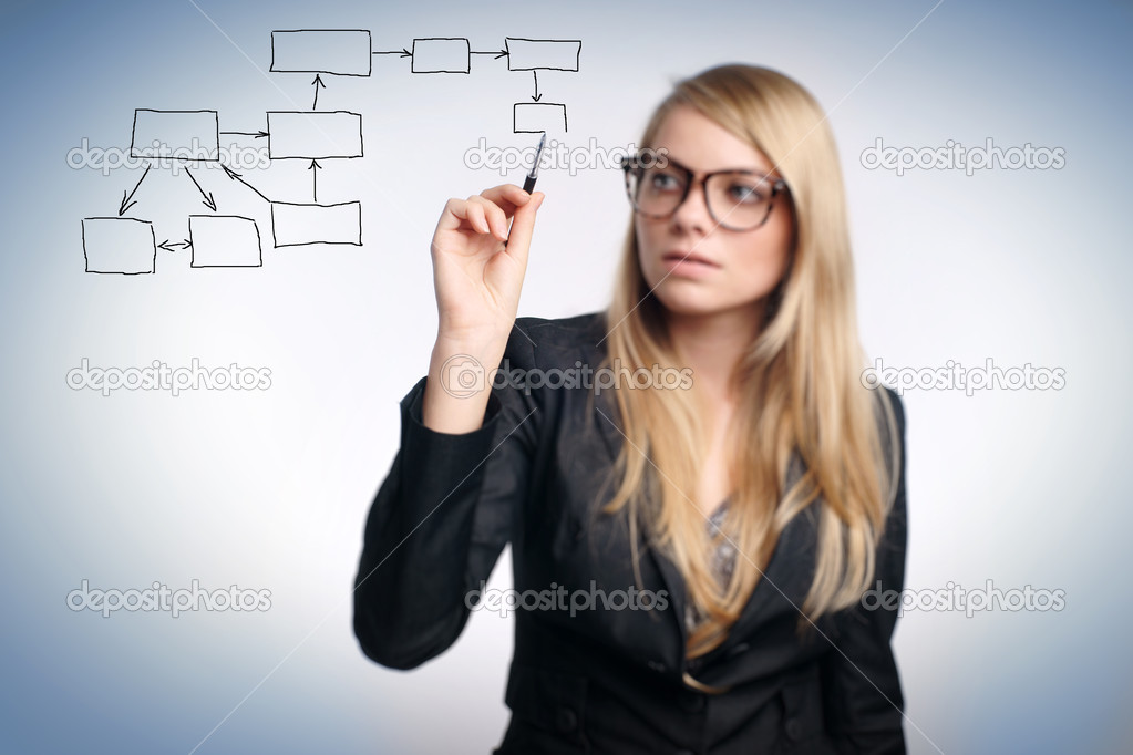 Business woman designing a plan on screen  — Stock Photo #3862787