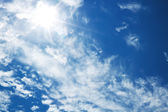 Bright blue sky with the sun — Stock Photo