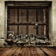 Grunge boarded up window and wooden floor background — Foto de Stock