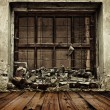 Grunge boarded up window and wooden floor background — ストック写真
