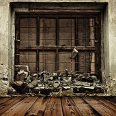 Grunge boarded up window and wooden floor background — Stock Photo