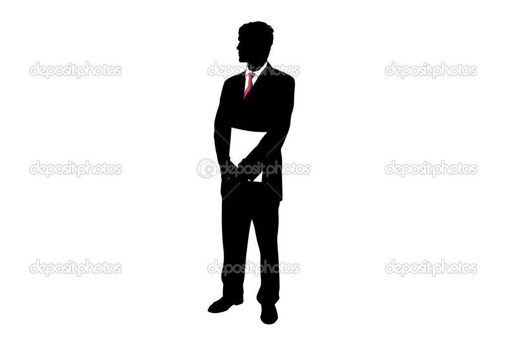 Vector illustration of businessman's silhouette under the white background — Stock Vector #2726757