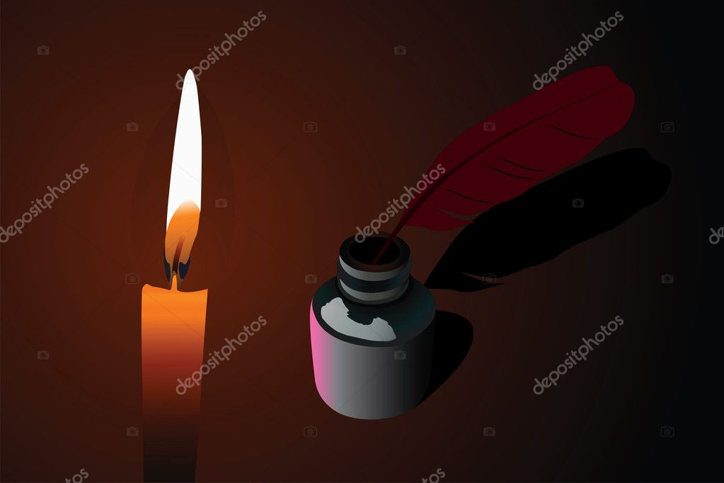 Vector illustration of candle and ink pen into  phial  — Imagen vectorial #3066399