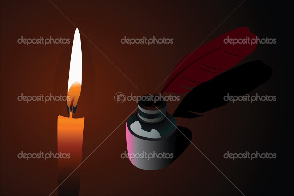 Vector illustration of candle and ink pen into  phial  — Stockvectorbeeld #3066399